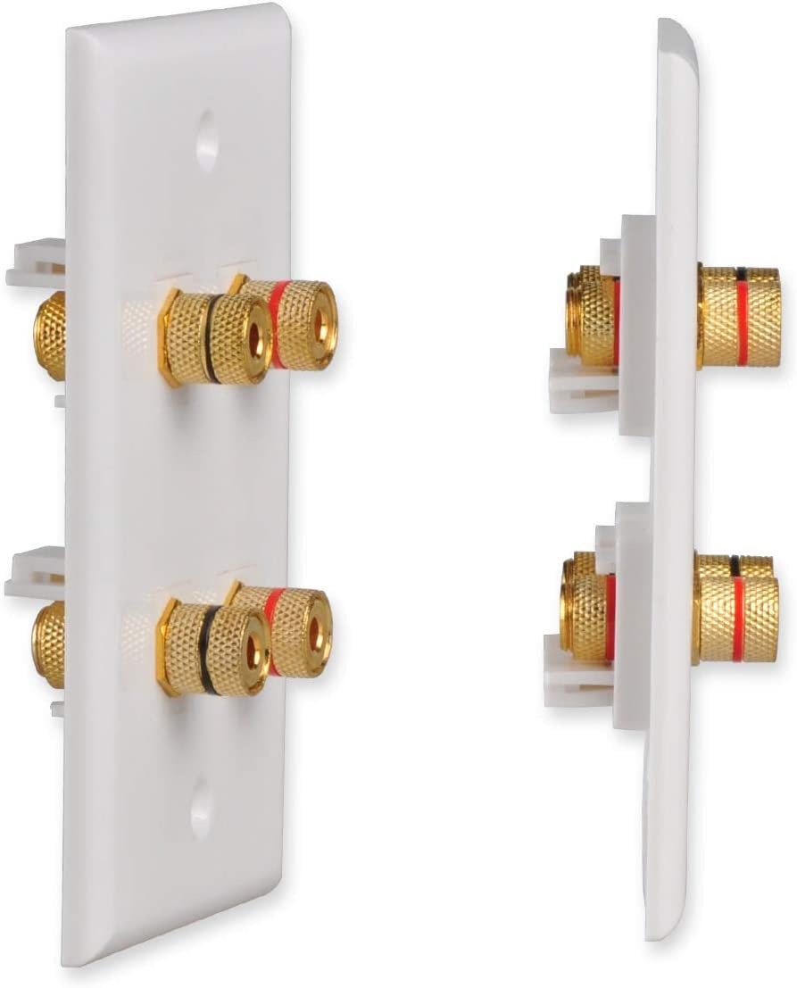 Conwork 4-Port Speaker Wire Wall Plate 2-Pack Banana Keystone Plug Binding Post for Speakers Premium Banana Wall Plate