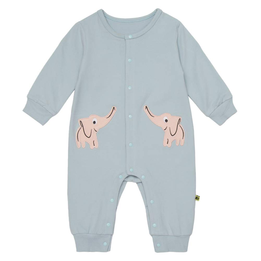 Teeker Unisex Baby Jumpsuit Cotton Onesies Baby Romper Long Sleeve Bodysuit Elephant Print Baby Outfit