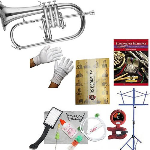 RS Berkeley flu669 Signature Series Silver Plated Flugelhorn with case & Bonus RSB MEGA PACK w/Standard of Excellence Book by RS Berkeley