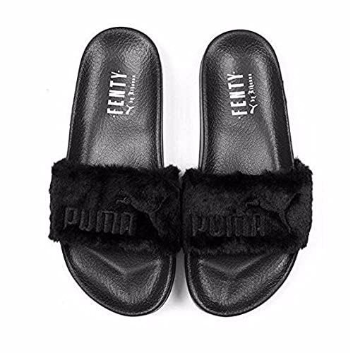 newest 880bf 8ed4e black puma fenty fur slides