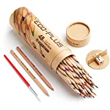 Marco Wooden Colored Pencils,48-color Natural Wood Pre-sharpened Pencils with Sharpener, Blending Pen for Adult Coloring