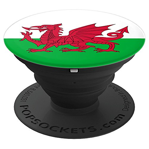 (Wales Flag Pop Socket - Welsh Red Dragon PopSocket - PopSockets Grip and Stand for Phones and Tablets)