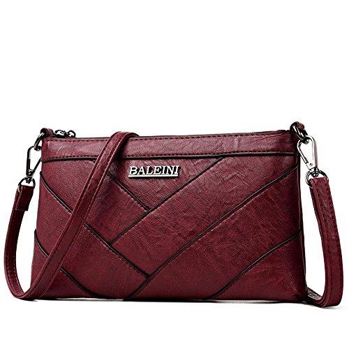 Bag Crossbody a Small 25cmx3cmx15cm moda tracolla Borsa Satchel Ladies Pu Penao per cucire Leisure Rosso dimensioni wxq0XaIF