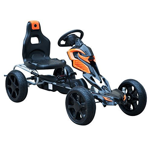 Aosom Kids Pedal Powered Ride-On Go Kart Racer with Hand Brake and Non-Slip Wheels - Orange (Kids Pedal Go Cart)