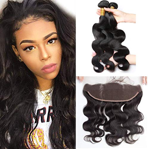 ALIMICE Brazilian Body Wave 13x4 Ear to Ear Lace Frontal Closure with 3 bundles Virgin Human Hair Bundles Natural Color (16 18 20 + 14 frontal)