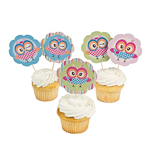Fun Express - You're A Hoot Paper Picks (25pc) for Birthday - Party Supplies - Serveware & Barware - Picks & Stirrers & Parasols - Birthday - 25 Pieces