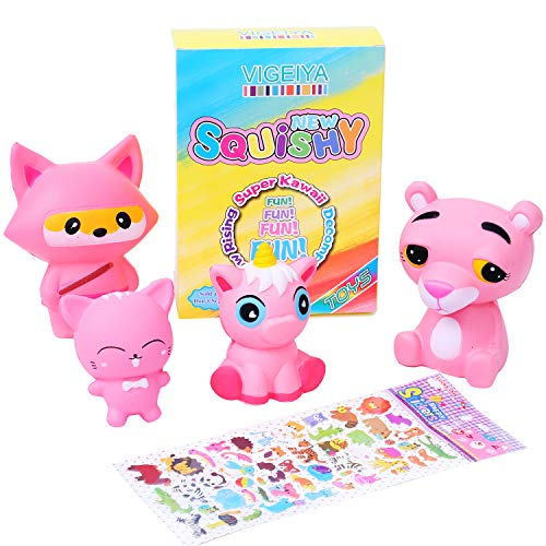 Vigeiya 4 Pack Squishies Toys Squishy Unicorn Squishy Cat Squishy Fox Squishy Tiger Jumbo Giant Kawaii Pink Animals Slow Rising Prime Gift Box