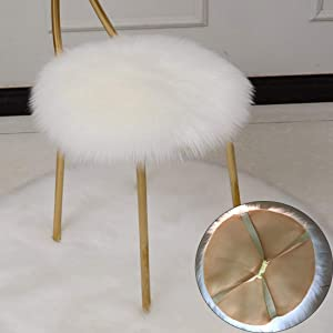 LJNGG 14 Inches Bar Stool Cover Office Round Chair Covers Rotating Seat Desk Protector Soft Warm (White)