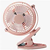 Luxon Mini USB Clip Desk Personal Fan, table fans, 5 Inch 2 Speed Portable Cooling Fan USB Powered by NetBook, Computer MacBook, Power Bank, and PC, 360° up and down (Pink)