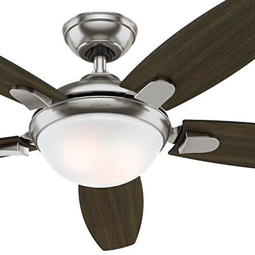"Hunter Fan 52"" Contemporary Brushed Nickel Ceiling Fan with"