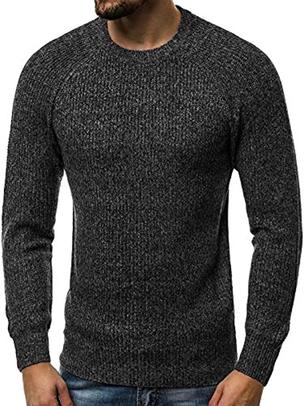 MOODOZ Męski sweter dziergany sweter z drobną dzianiną sweter nowoczesny Basic U-Neck codziennie HR/01807: Odzież