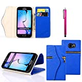 S4 Case, JCmax [Zipper Feature] Folio Cover Purse PU Leather Wallet Stand Case With [Card Slots][Magnetic][ Wrist Strap] For Samsung Galaxy S4 I9500 ¨CBlue