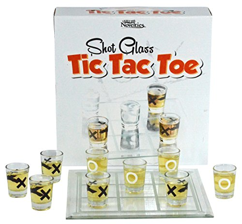 Fairly Odd Novelties Shot Glass Tic Tac Toe Drinking Game, Clear