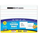 BAZIC Double Sided Dry Erase Learning Board w/ Marker, 9 X 12 Inch