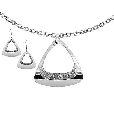 691fc3706337 tumundo Set 1 Cadena Cuello Largo Collar + 2 Pendientes Cuelgan Aretes  Colgantes Joyas de Moda Mujer Brillante Plata