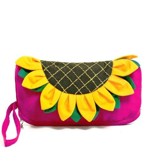 Fashion Floral Cotton Sunflower Cosmetic Bag Clutch Wristlet Wallet (Fuchsia)