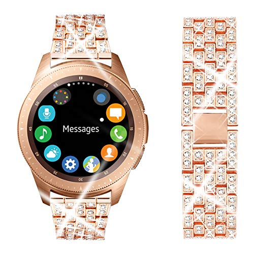Dsytom Compatible with Samsung Galaxy Watch 42mm/Active 40mm Band, Gear Sport/S2 Classic,Metal Bracelet Replacement Bands Wristband Accessories Strap for Women(Rose Gold)