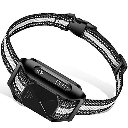 AUGLEY Rechargeable Dog Bark Collar, IP67 Waterproof Smart Anti Barking Training Shock Collar with Progressive Beep and…