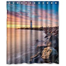 Unique Design Lighthouse Sunset Special Scene Waterproof Shower Curtain Best Bath Detor