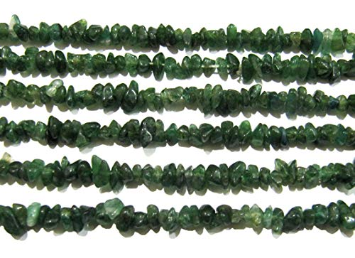 Natural Green Jade Irregular Chip Gravel Uncut Nugget 4 to 8mm Beads Green Color Strand 34 Inches (Chip Beads Green)