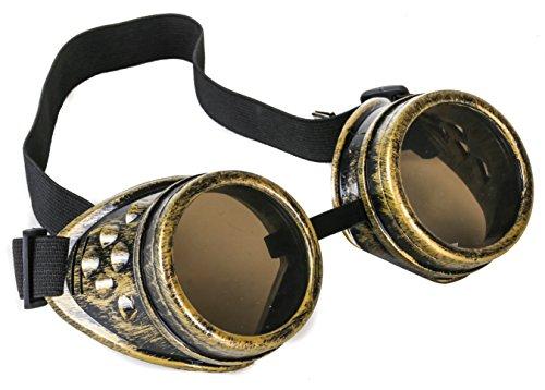 Antique Brass Goggles Sunglasses Cosplay Aviator Steampunk Gothic Burning Man ()