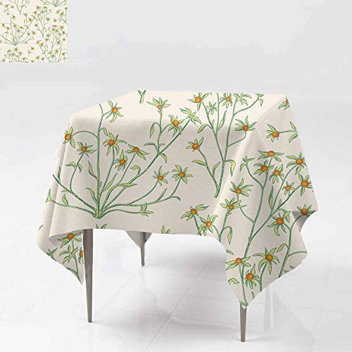 (Tablecloth for Kids/Childrens,Floral Seamless Pattern Flower Background Flourish Wallpaper with Berries and Flowers High-end Durable Creative Home 60x60 Inch)