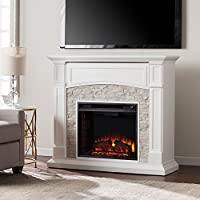 Southern Enterprises Seneca Faux Stone Electric Fireplace TV Stand