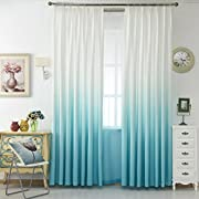 TIYANA Window Panels Grommet Top Gradient Color Cloth Fabric Curtains Semi Blackout Drapes for Living Room Kids Bedroom, 1 Panel,White and Sky Blue, W39''x L84''