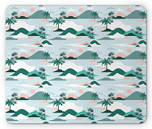 (SHAQ Hawaii Mouse Pad, Pastel Tones Palm Trees and Beach Hills Paper Cut Style, Standard Size Rectangle Non-Slip Rubber Mousepad, Pale Teal Blush Hunter Green Baby Blue)