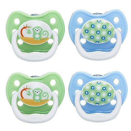 Dr. Brown's PreVent Classic Pacifier, Stage 3 (12m+), Unique Blue/Green, 4-Pack