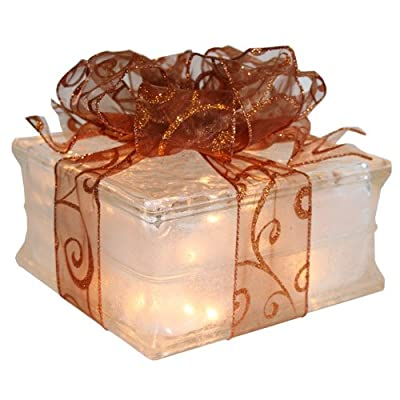 Illuminated Glass Block Christmas Decoration with Sheer Copper Ribbon