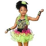 MiDee Girls Decorative Border Halter Ballet Dance Costume Tutu Party Dress (MC, Multi Color)