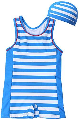 [Babystity] 베이비 수영복 UPF50+그레코 타입 보더 모자 부착 2점 세트 사내 아이 아카창 70〜100cm