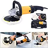 Globe House Products GHP 1200W Black & Yellow Aluminum Alloy & Plastic Variable Speed Car Polisher Buffer