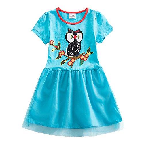 JUXINSU Girl Short Sleeve Dress Summer Wear Cotton Owl Cartoon Embroidery SH6252 (6T, Blue) -