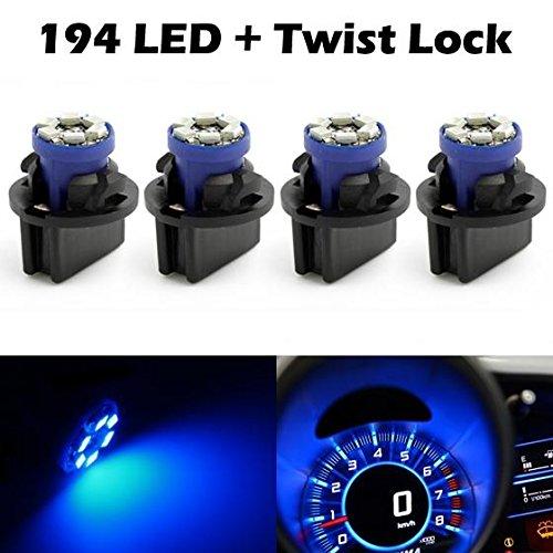 (Partsam 4pcs Blue 6-SMD LED Bulb Lights Instrument Panel Gauge Cluster 12V Lamp W/Twist Lock Sockets)