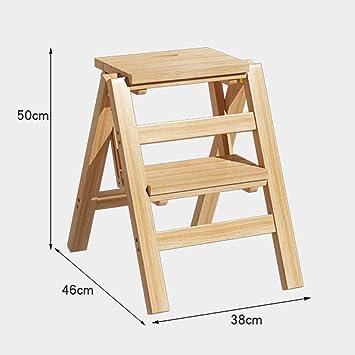 JTD Inicio Taburete plegable simple, Taburete de escalera de madera de 2 escalones Sala de estar de dormitorio multifunción antideslizante 38 X 46 X 50 cm: Amazon.es: Bricolaje y herramientas