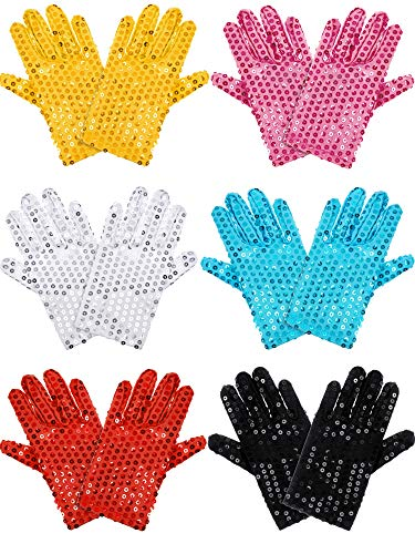 6 Pairs of Child Sequin Gloves Glitter Dance Costume Gloves Dress Up Sequin Gloves Costume Accessory for Kids Dance Party (6 Colors)