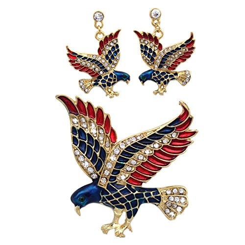 Brooch Crystal Dangling (4th of July USA American Flag Patriotic Design Eagle Earrings Brooch Pin Set (Gold-tone))