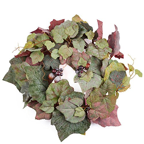 Factory Direct Craft Artificial Grape Leaf Candlering with Red Grape Cluster Accents for Home Decor, Gifting and Crafting