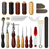 #4: Electop 27 Pcs Leather Sewing Tools DIY Leather Craft Tools Hand Stitching Tool Set with Groover Awl Waxed Thread Thimble Kit