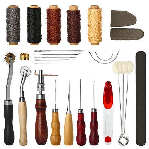 (Electop 27 Pcs Leather Sewing Tools DIY Leather Craft Tools Hand Stitching Tool Set with Groover Awl Waxed Thread Thimble)