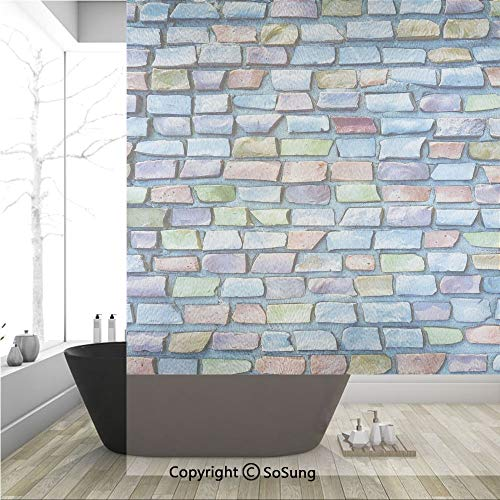 3D Decorative Privacy Window Films,Colorful Mosaic Textured Sketchy Brick Wall Display Glossy Grid Modern Artwork,No-Glue Self Static Cling Glass film for Home Bedroom Bathroom Kitchen Office 36x48 In ()