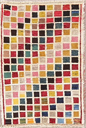 Modern Gabbeh Persian Rug Hand-Knotted Geometric Checked Oriental Carpet 2 x 3D