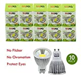 DIYNP Pack of 10 Aluminum GU10 5W LED Spotlight 5W COB LEDs LED Bulb In Warm White Energy-Saving Lamp