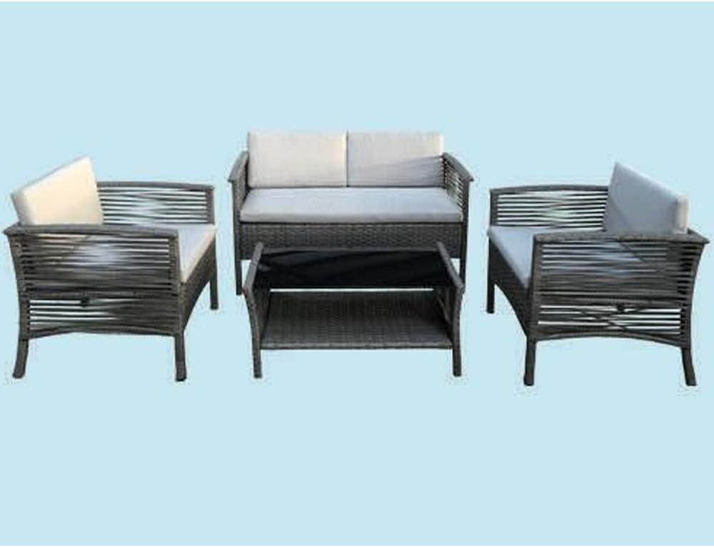 Fraschetti Salón de jardín de ratán PE Chill- out: sofá + 2 sillones + Mesa – Almohadas Incluidas: Amazon.es: Jardín