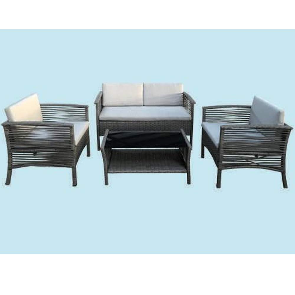 Fraschetti Salón de jardín de ratán PE Chill- out: sofá + 2 ...