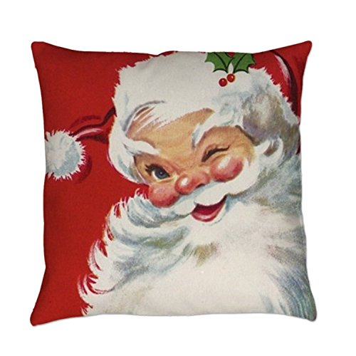 "Price comparison product image SIXSTARS Vintage Christmas Jolly Santa Clau Square Pillowcase Cushion Cover Case 18"" X 18"""