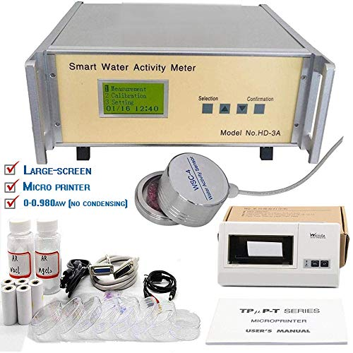 HD-3A High accuracy Food Water Activity Meter Instrument Water Activity Analyzer Water Activity Meters Monitor with Water activity Lab Testing Instrument 0 to 0.980aw no condensing Color White