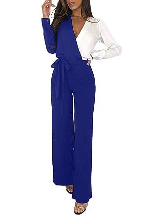 14a957ed8ba7 MASHIKOU Overall Damen elegant festlich Asymmetrischer Langarm V-Ausschnitt  Belted Lang Breites Bein Hoher Taille Party Hose Jumpsuit Playsuits Herbst  ...